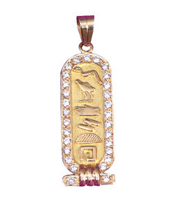 Egyptian Jewelry Cartouche with Zirconium
